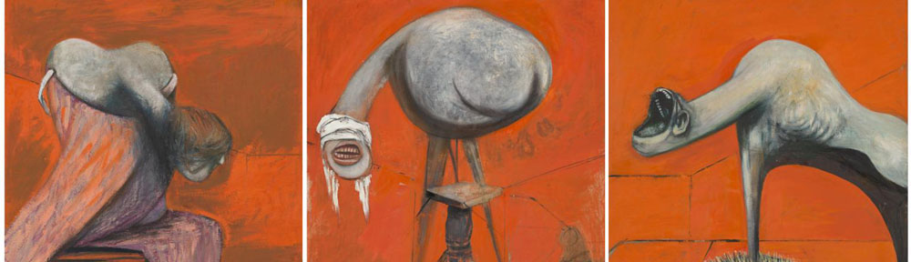 Francis Bacon (1909-1992), 'Three Studies for Figures at the Base of a Crucifixion', c.1944, Tate, detail