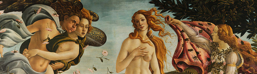 Sandro Botticelli (1445-1510), 'The Birth of Venus', (c. 1486), tempera on canvas, 172.5 cm × 278.9 cm (67.9 in × 109.6 in). Uffizi, Florence, detail