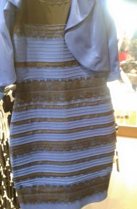 Gold and white or blue and black dress