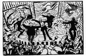 Boccioni_Caricature_of_a_Futurist_evening_1911