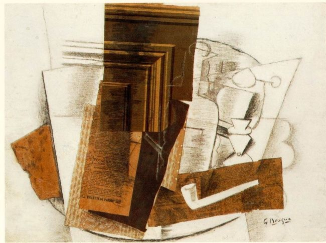 Braque_Bottle_Newspaper_Pipe_and_Glass_1913