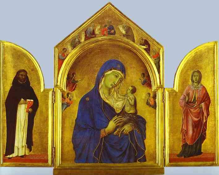 Duccio_Triptych_Virgin_Child_St_Dominic_and_Aurea_c1300