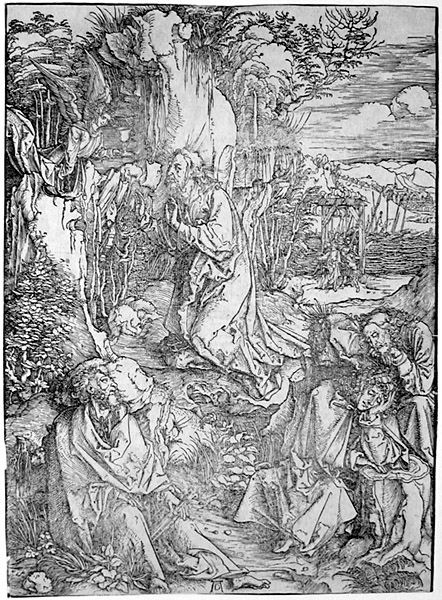 Christ  on  the   Mount of Olives  /  The Agony  in  the   Garden  (B. 6,  Strauss  38, M. 115 c).  Original   woodcut,  c. 1497-1500.  One of D�rer 's  earliest   major   prints,  this   work   was   one  of  the   first  to  reveal   his   genius.  Originally   made   for   D�rer's Large Woodcut Passion,  this  is  one  of  D�rer 's  most   dramatic   prints.