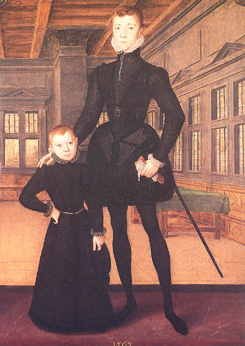 Hans Eworth, Henry Lord Darnley and Charles Stewart (Royal Collection), 1563