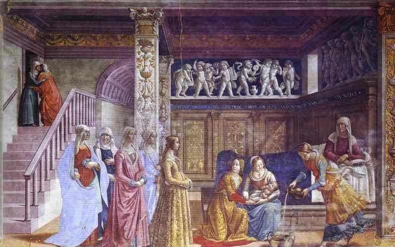 Ghirlandaio_Florence_Birth_of_Mary_1485-1490