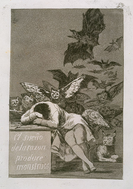 The Sleep of Reason Produces Monsters:  Plate  43 of  The Caprices  (Los Caprichos), 1799  Francisco de Goya  y  Lucientes  (Spanish, 1746 - 1828) Etching,  aquatint,  drypoint,  and   burin;  Image: 8  7/16  x 5  7/8  in. (21.5  x 15 cm)