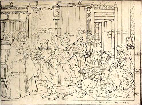 Holbein Sir Thomas More Family 1527 drawing