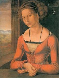 Durer Painting, Young Woman With Bound Hair. Painting. 1497. One of a pair of virtually identical originals.