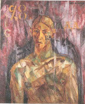 Larionov_Portrait_of_Tatlin_1913-14