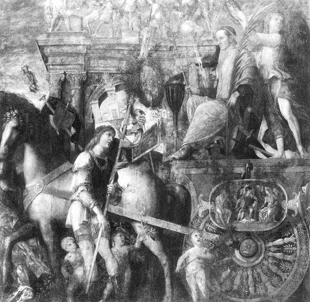 Mantegna_Ceasar_chariot_1485_Hampton_Court