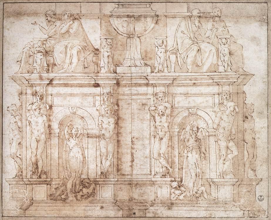 Michelangelo_Drawing_Julius_II_Tomb