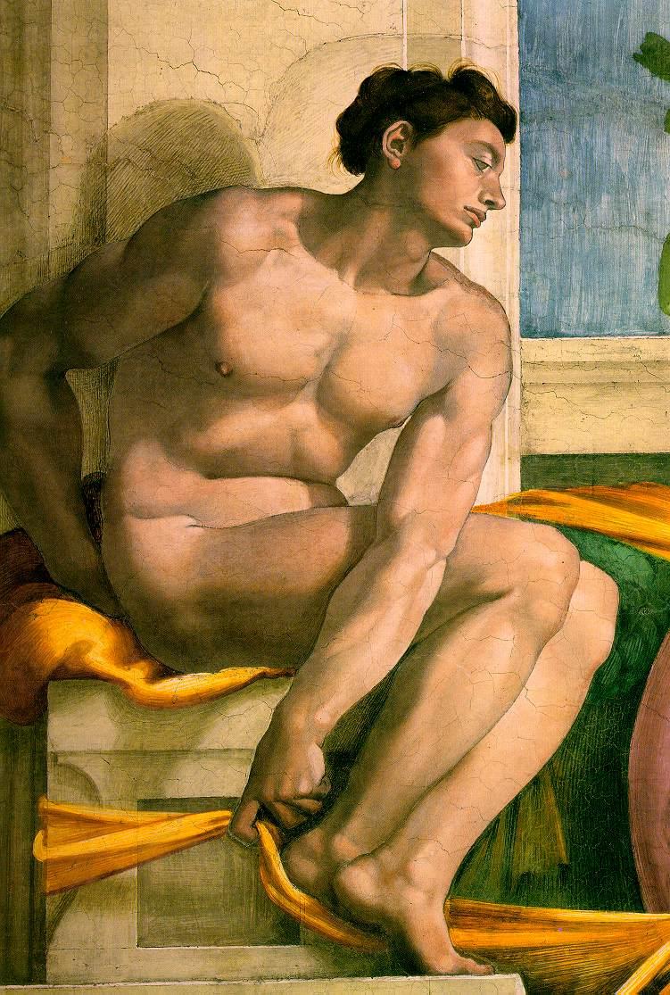 Michelangelo_Ignudo_Sistine_Chapel_2