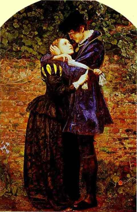 Sir John Everett Millais.  A Huguenot, on St. Bartholomew's Day Refusing to Shield Himself from Danger by Wearing the Roman Catholic Badge. 1852. Oil on canvas