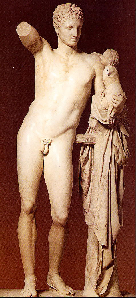 Olympia_Hermes_and_Dionysis_Praxiteles_c340BCE_or_200-100BC
