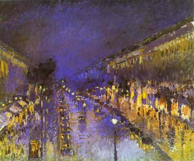 Pissarro_Boulevard_Montmartre_at_Night_1897