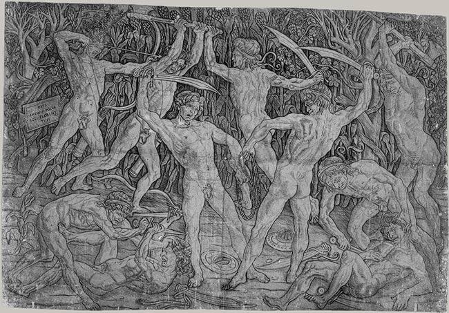 Battle of Naked Men, 1465  Antonio Pollaiuolo  (Italian,  Florentine, 1431 / 32 - 1498) Engraving; 15  1/8  x 23  3/16  in. (38.4  x  58.9  cm) Purchase,  Joseph Pulitzer Bequest, 1917 (17.50. 99)