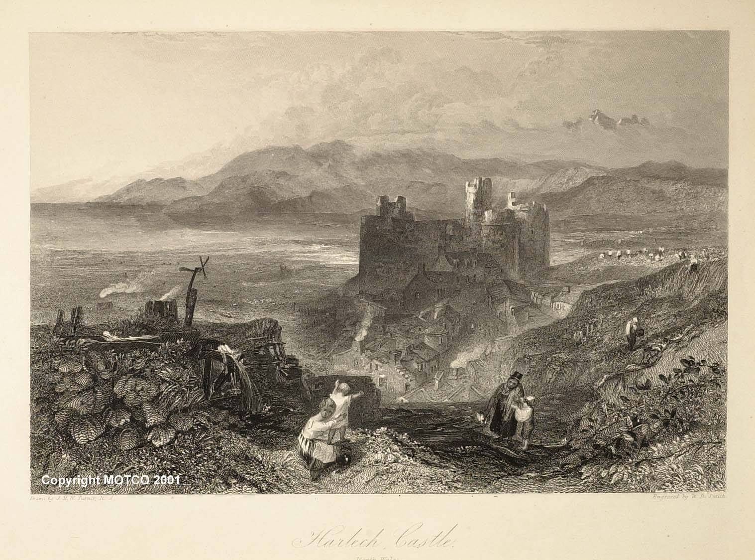 Turner_Harlech_Castle_North_Wales_engraved_Smith_1834-5